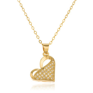 Two Year Warranty Gold Overlay Slanted Heart Pendant with an 18 Inch Link Necklace and Cubic Zirconia