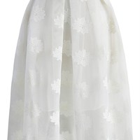 Lotus Embroidered Mesh White Skirt