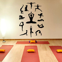 Yoga Wall Decal Vinyl Sticker, Yoga Studio Decor, Lotus Yoga Meditation Symbol Fitness Pilates Sports Wall Decals Wall Art Home Decor Z890