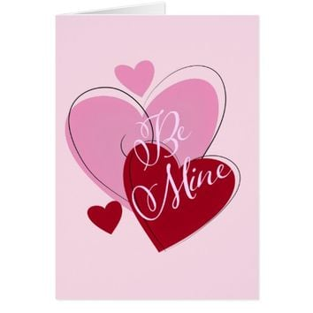 Pink Red Hearts Valentine's Day Greeting Card