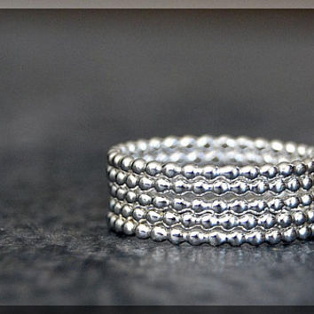 Set of 5 Beaded Sterling Silver Rings, Sterling Silver Stacking Rings, Full Bead Silver Stacking rings, Bauble Rings, Dottie Rings