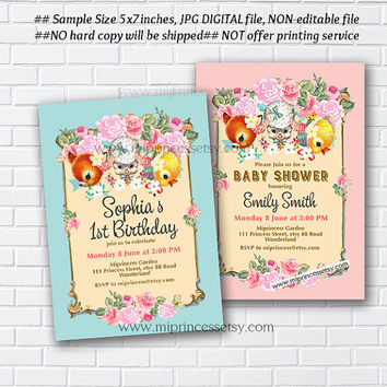 Birthday Party invitation OR baby shower Invitation, retro vintage fawn lamb deer design shabby chic vintage deer lamb duck - card 870
