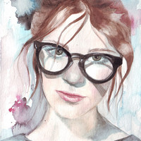 Original watercolor Girl with Reading Glasses art