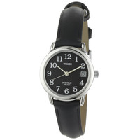 Timex T2N525 Women's Elevated Classics Black Dial Black Leather Strap Stainless Steel Watch