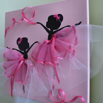 Dancing Ballerinasin Pink. Kids room wall decor.