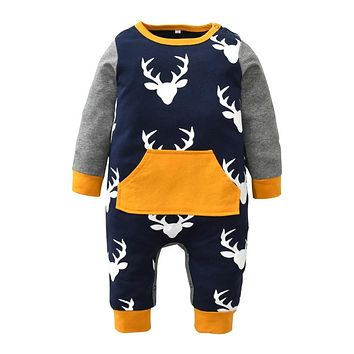 Newborn Clothes Baby Boy Girls Romper Xmas Deer Printing Patchwork Cotton Long Sleeve Jumpsuit Bodysuit Christmas Baby Clothing