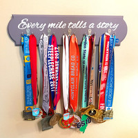 Every Mile Tells a Story Medal Display, Wood Medal Display, Running Medal Holder, Gift for Runners, Running Gift, Pastel Purple Finish