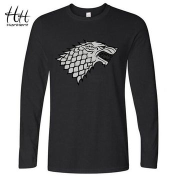 HanHent Winter is coming Direwolf T-shirt House Stark Cotton T-shirt men Casual Long Sleeve T shirt Game of Thrones LT0460