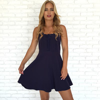 Special Effects Bustier Dress In Navy Blue