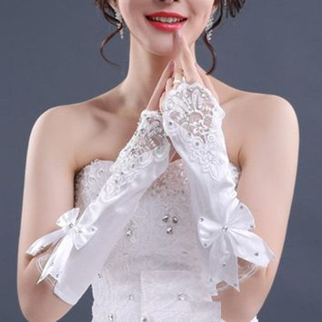 Bride Black White Ivory Ladies Wedding Gloves Evening Dress Elbow Long Satin Bridal Glove