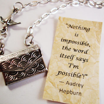 Envelope Locket Necklace - Letter Locket - Friendship Necklace - Bird Necklace - Personalized Necklace - Secret Message - Hepburn