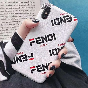 FENDI Fashion Mobile Phone Cover Case For iphone 6 6s 6plus 6s-plus 7 7plus 8 8plus X XsMax XR White