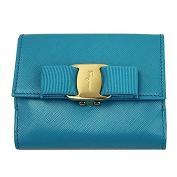 FERRAGAMO VARA BLUE LEATHER BI-FOLD WALLET 22A926