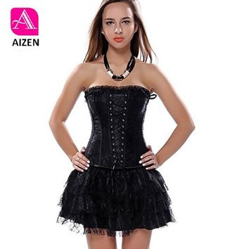 AIZEN Sexy Corset And Bustier Lace Evening Women Casual Dress Plus Size Push Up Gothic Corset Dress Zip Black Red Vintage Green
