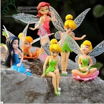 6pcs/Set  Tinkerbell Dolls Flying Flower Fairies