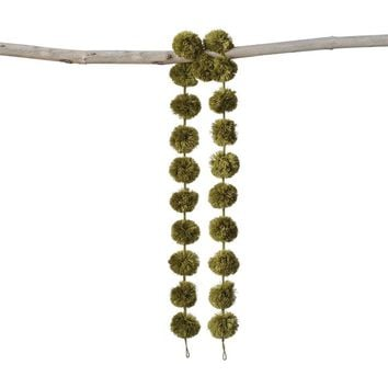Avocado Green Wool Pom Pom Garland
