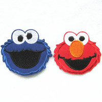 2Pcs Sesame Street ELMO Patch Embroidered Cartoon Iron On Sew On Patches Fabric Applique Motif Decal