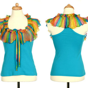 Rainbow Top - Upcycled Turquoise Tank Top With Rainbow Crochet Ruffle Collar - Eco Friendly Clothing