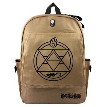 Anime Backpack School New Design kawaii cute Fullmetal Alchemist Men Women Canvas Backpack Haversacks Casual Khaki Travel Bag School Bags Rucksack AT_60_4