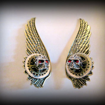 Golden Wing Earrings -clip on Wings earring -skull wing earring-gothic jewellery earrings-non-pierced earring-steampunk wing earring
