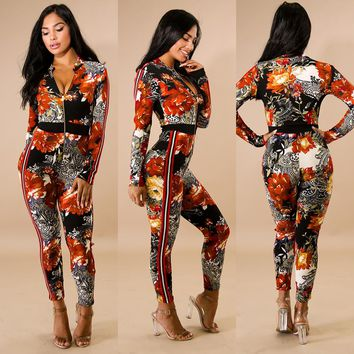 Flower Print Jumpsuit with Zipped Front