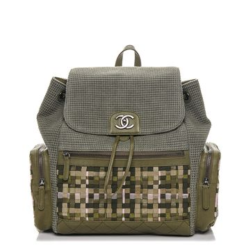 CHANEL Tweed Canvas Cuba Pocket Backpack Khaki