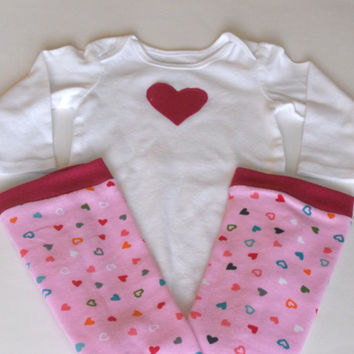 Valentine's Day Hot Pink Heart Onsie/Leg Warmer Set, Heart Onsie Leg Warmer Set Baby, Heart Onsie Leg Warmer Set Toddler, Leg Warmer Set