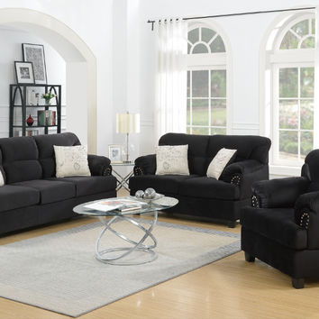 Poundex F7975 3 pc brisha black microfiber fabric upholstered sofa , love seat and chair set nail head trim