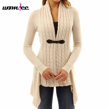 Women Long Cardigan 2017 New Autumn Winter Long Knitted Sweaters Outwear Long-Sleeve Casual Loose Female Sweater Cardigan Poncho