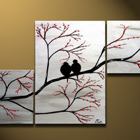 Love Birds in Tree Brance, ORIGINAL Large Wall Art 40 x 24, Silver Painting Triptych, Acrylic canvas, ready to hang, Valentines Day