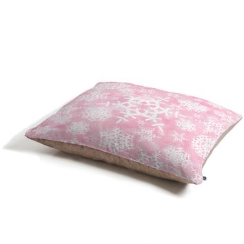 Lisa Argyropoulos Snow Flurries in Pink Pet Bed