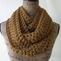 Honey Golden Brown Cowl Scarf Fall Winter Women's Accessory Infinity