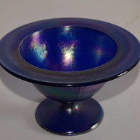 Vintage 1960s IMPERIAL Glass Cobalt Blue Iridescent Glassware Candy Dish Or Compote With Embossed Mark On Bottom