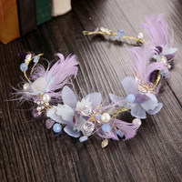 Korean Headwear Feather Crystal Butterfly Wedding Dress Hairband [9284030468]
