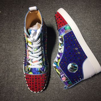 KUYOU Christian Louboutin high tops CL fashion casual shoes red sole for men and women sneakers 90521