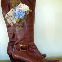 Boot Accessories with Hand Made Fabric Rose Flowers Vintage Buttons and Lace Boot Bling Boot Bracelet, cream, pink & Blue