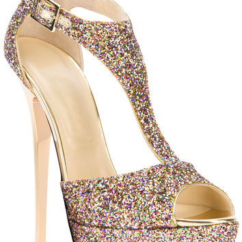 FSJ Tammy Golden T-strapped Sequined Sandals