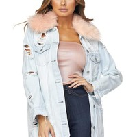 Fur Collar Distressed Denim Jacket
