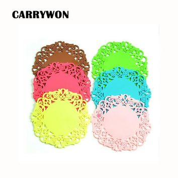 CARRYWON 3pcs/lot Silicone Dinner Plate Slip-resistant Silicone Baby Pad Feeding Food fruit Plates Children Dishes Tableware