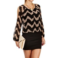 Black/Taupe Zig Zag Dress