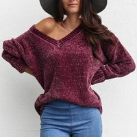 Down Time Oversized Plum Chenille V-Neck Sweater