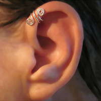 "No Piercing Sterling Silver Helix Cuff Ear Cuff Handmade ""Spiral Up"" 1 Cuff"