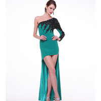 Teal Green One Shoulder Sleeved High Low Gown 2015 Prom Dresses