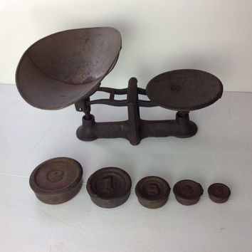Antique Cast Iron Market Scale 1800s 19th Century Merchant Balance Scale Weights Included Frederick Maryland