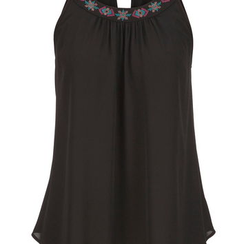 chiffon tank with embroidered neckline