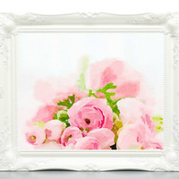 Floral Watercolor Painting - Watercolor Flowers Digital - Watercolor Bouquet - Watercolour Painting - jpg in 3 Sizes, Pink Roses