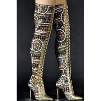 Betsy Thigh High Gold Boots(Ready To Ship)