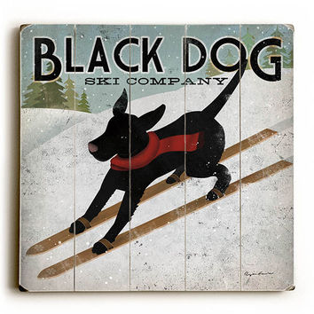 Black Dog Ski Company by Artist Ryan Fowler Wood Sign