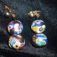 Millefiori Dangle Clip On Earrings