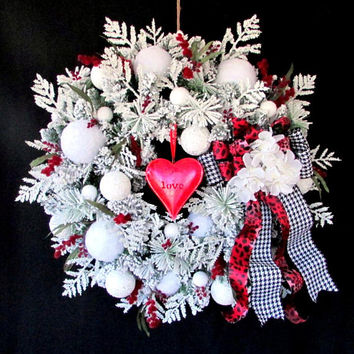 "Snow wreath, ""Snowball Kisses"" Valentine wreath, winter wreath, door wreath, snow ball wreath, let it snow, Love wreath, red white wreath"
